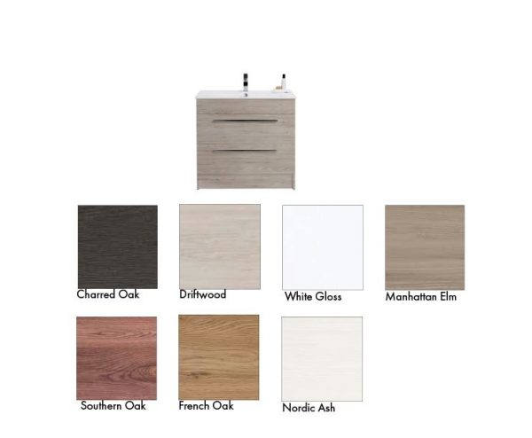 Raymor Boston Vanity 750mm Floor Standing, colour options