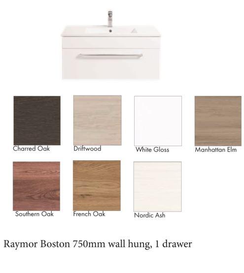Raymor Boston Vanity 750mm 1 Drawer, colour options